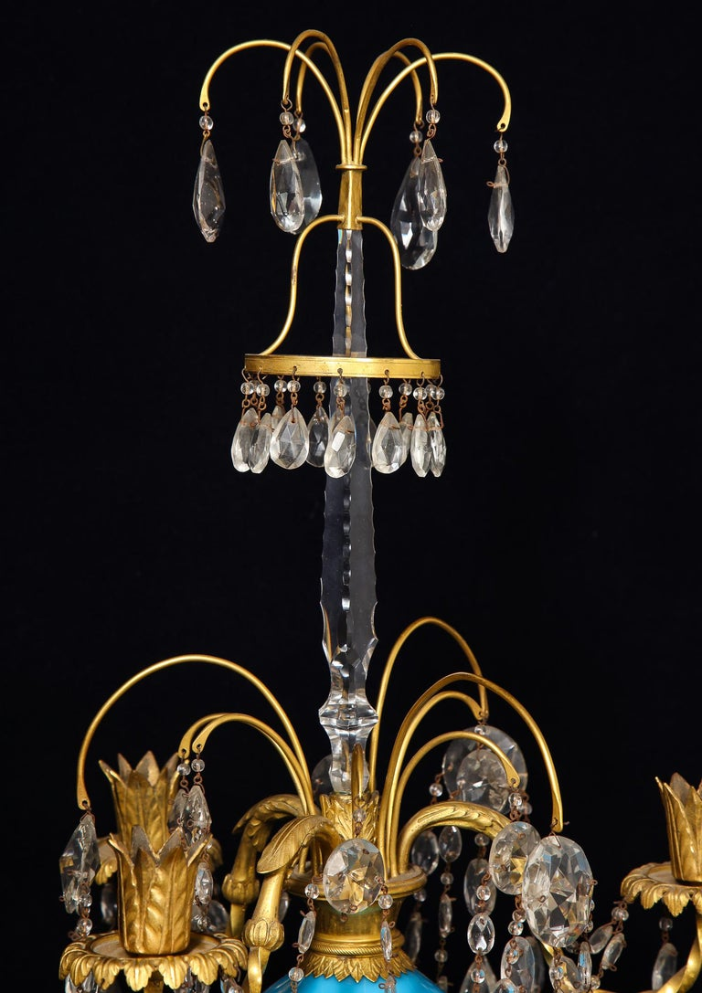Pair of Fine Antique Russian Neoclassical Bronze, Opaline and Crystal Candelabra For Sale 1
