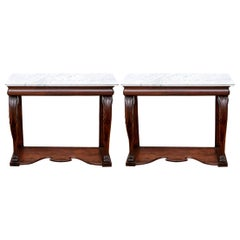Fine Antique Transitional Empire Carved Mahogany Marble-Top Console Table, Pair