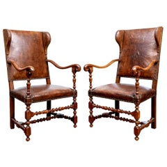 Pair of Fine Antique Walnut and Leather Fireside Chairs