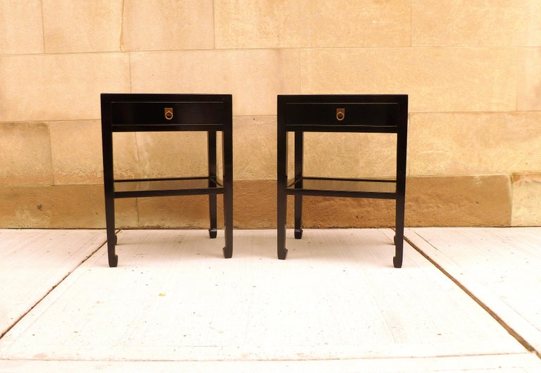 Mid-20th Century Pair of Fine Black Lacquer End Tables For Sale