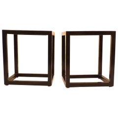 Pair of Fine Black Lacquer End Tables