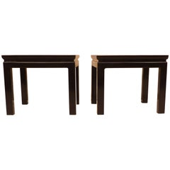 Pair of Fine Black Lacquer Square End Tables