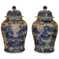 Pair of Fine Blue and White Porcelain Jars with Covers