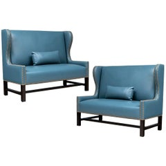 Pair of Fine Blue Faux Leather Loveseats