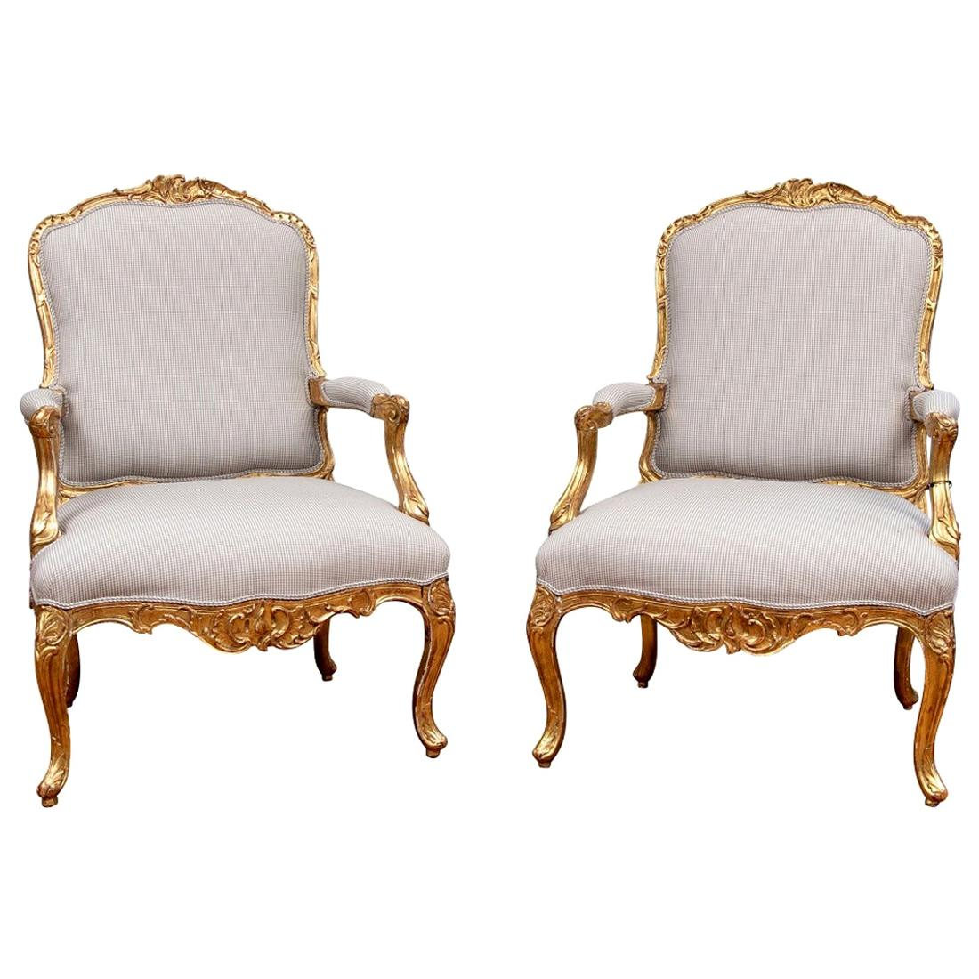 Pair of Fine Carved and Gilt Oversized Fauteuils