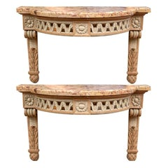 Pair of Fine Carved Marble Top Wall Mount Demilune Consoles