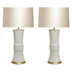 Pair of Fine Carved Porcelain Lamps