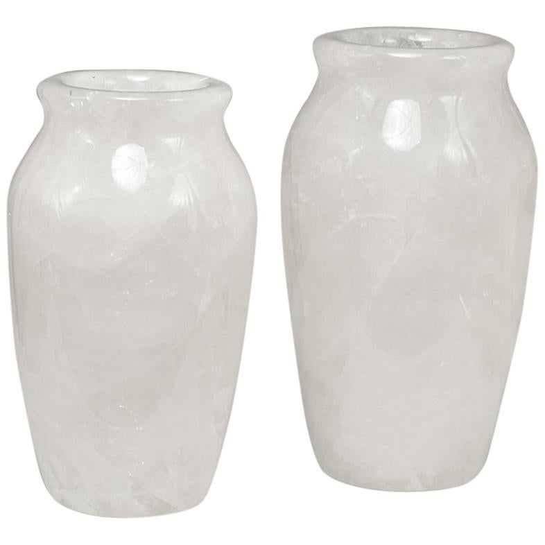 Group of Two Fine Carved Rock Crystal Vases by Phoenix