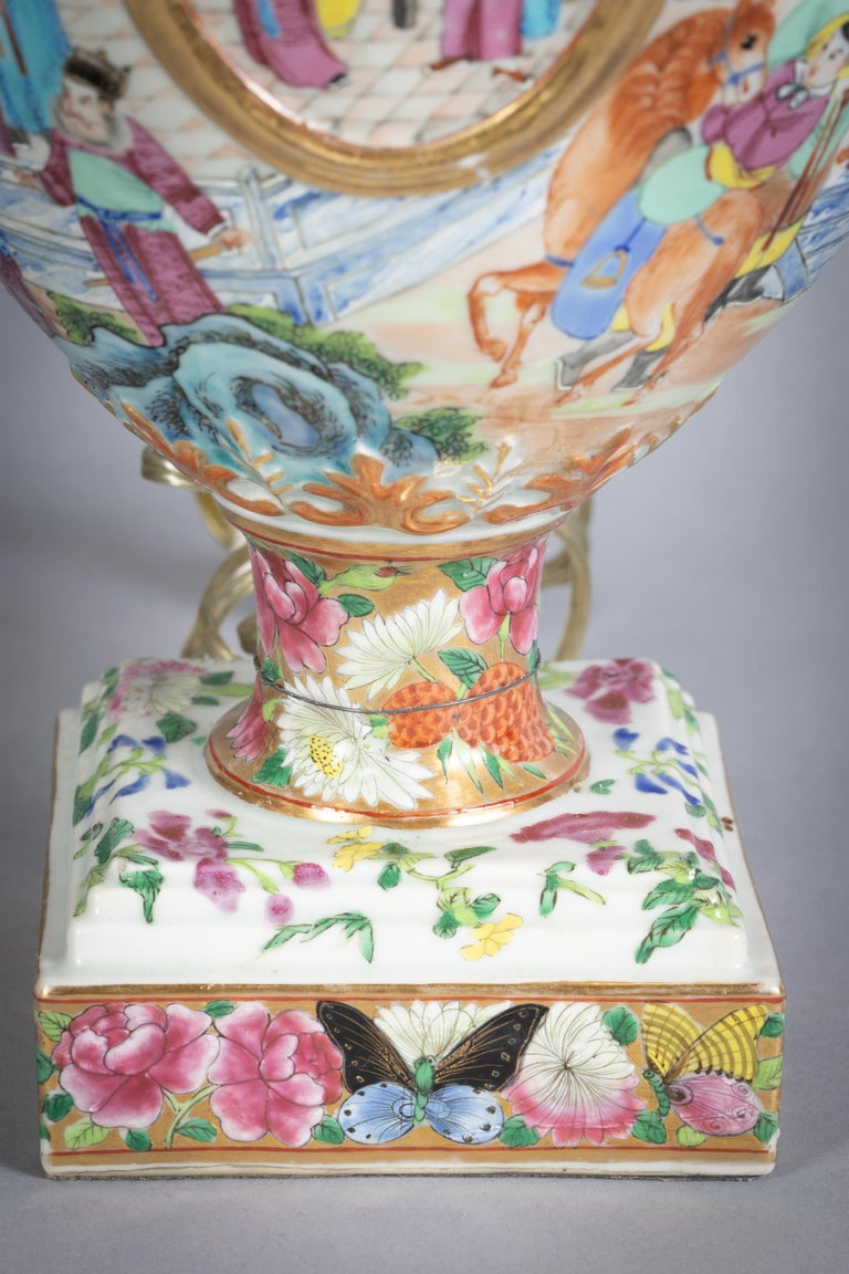 Pair of Fine Chinese Mandarin Palette Lamps, circa 1820 For Sale 1