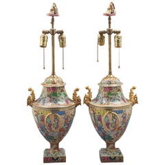 Pair of Fine Chinese Mandarin Palette Lamps, circa 1820