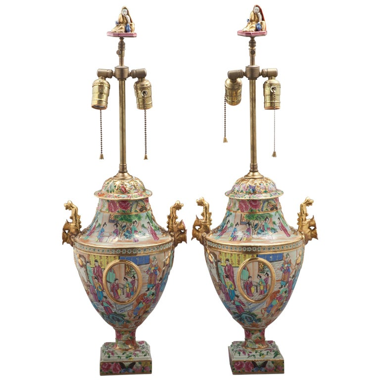 Pair of Fine Chinese Mandarin Palette Lamps, circa 1820 For Sale