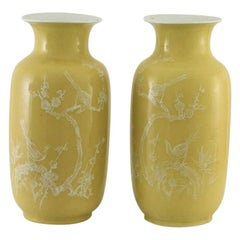 Pair of Fine Chinese Yellow-Ground Decorated Vases, Late 19th Century, Marked