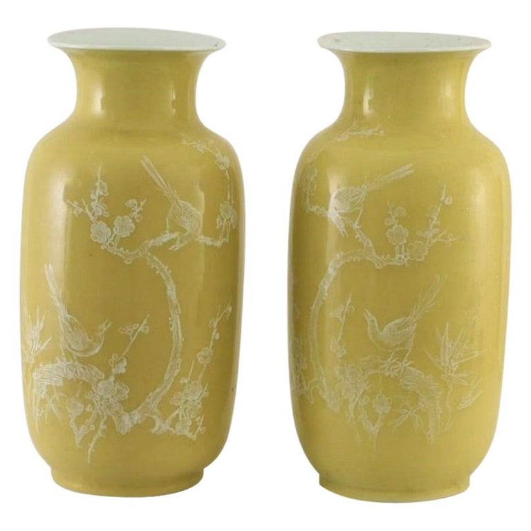 Pair of Fine Chinese Yellow-Ground Decorated Vases, Late 19th Century, Marked For Sale