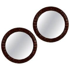 Pair of Fine Circular Mahogany Laurel Leaf Mirrors