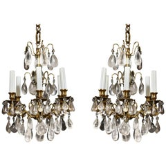 Pair of Fine Continental Louis XVI Style Rock Crystal Chandeliers