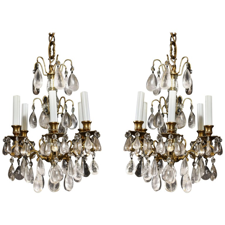 Pair of Fine Continental Louis XVI Style Rock Crystal Chandeliers For Sale