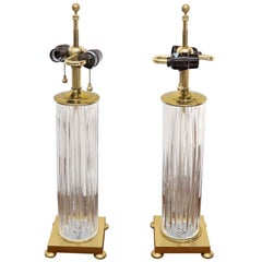 Pair of Fine Cut Glass Crystal Cylinder Shape Table Lamps on Brass Bases