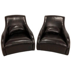 Pair of Fine Dark Brown Leather Rocking Club Chairs, Mid-Century Modern Style