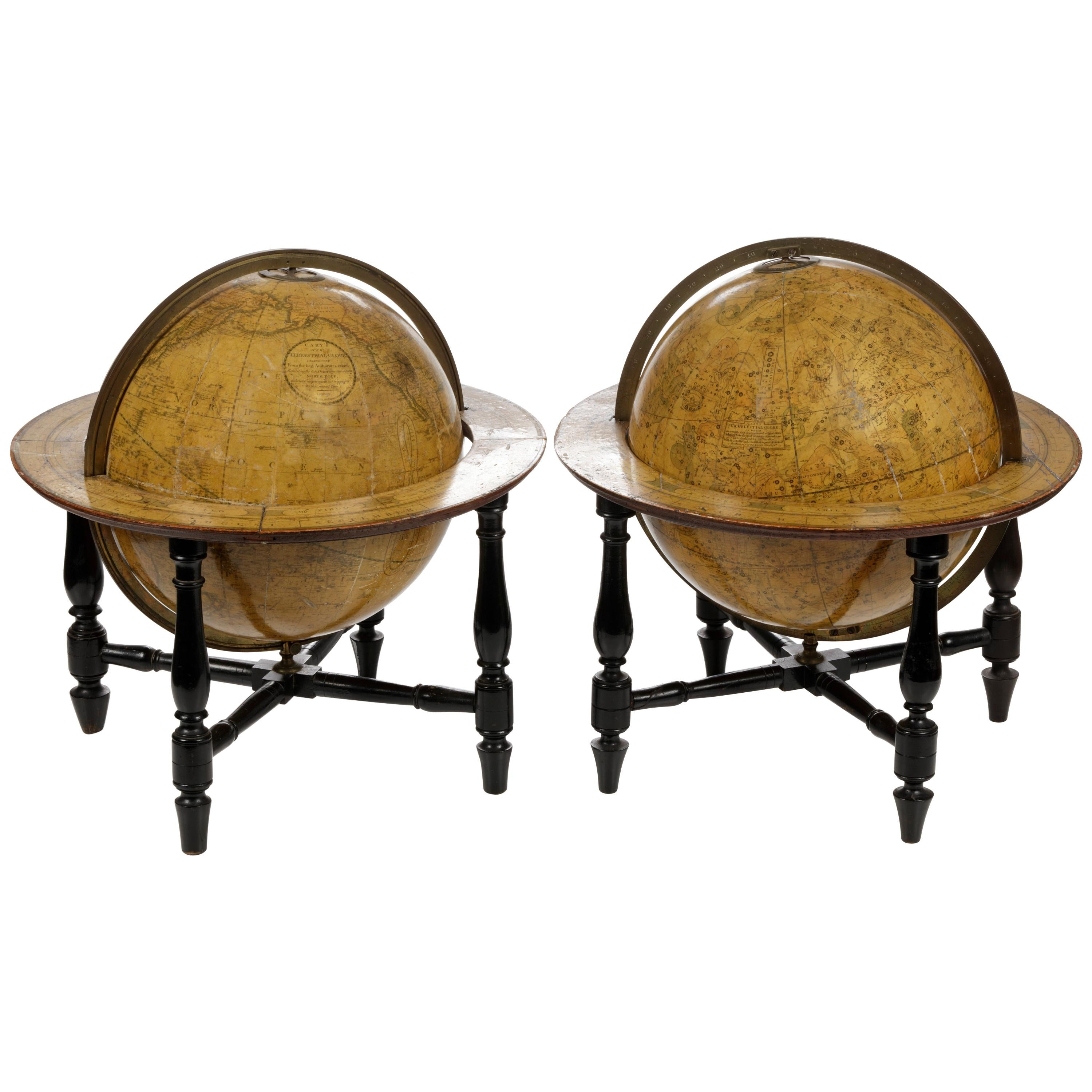 Pair of Fine Desk Globes by J. Cary, 1816 and 1824