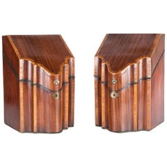Pair of Fine English Georgian Mahogany Knife Boxes