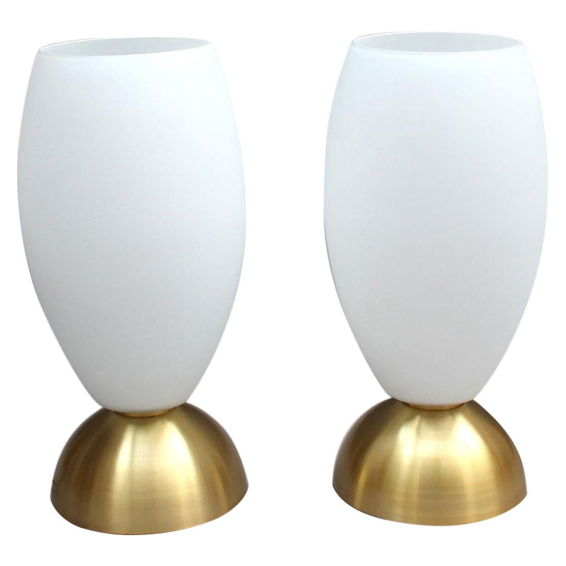 Pair of Fine French Art Deco Brass and Glass Table Lamps by Perzel