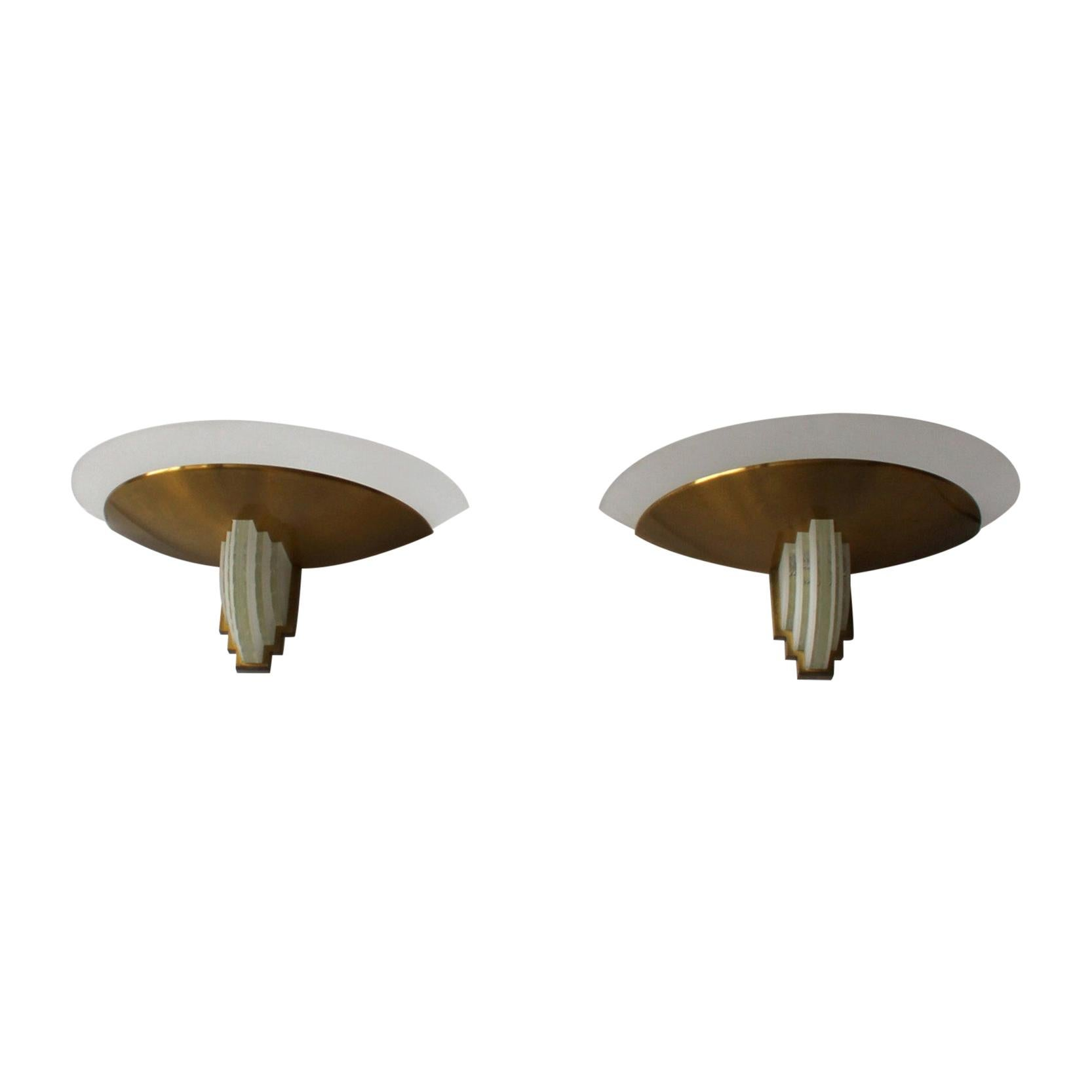 Pair of Fine French Art Deco Bronze and Cut Glass Sconces by Jean Perzel