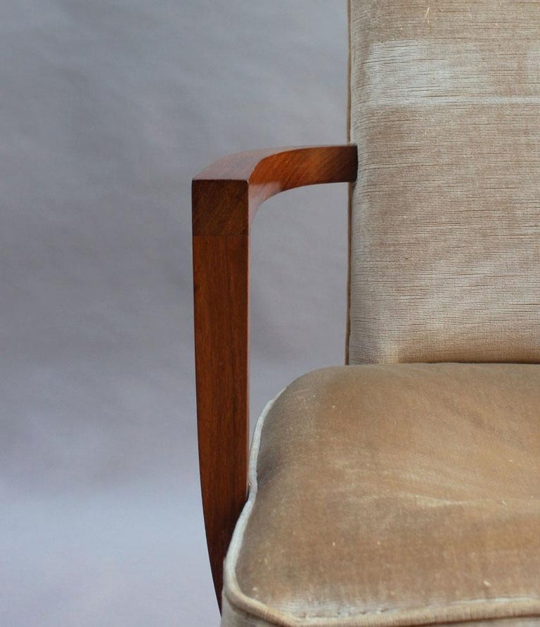 Pair of Fine French Art Deco Rosewood Armchairs by Maxime Old For Sale 9