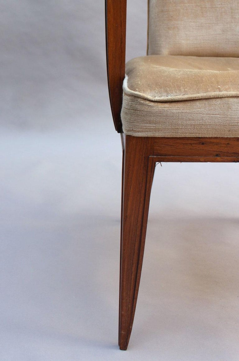 Pair of Fine French Art Deco Rosewood Armchairs by Maxime Old For Sale 10
