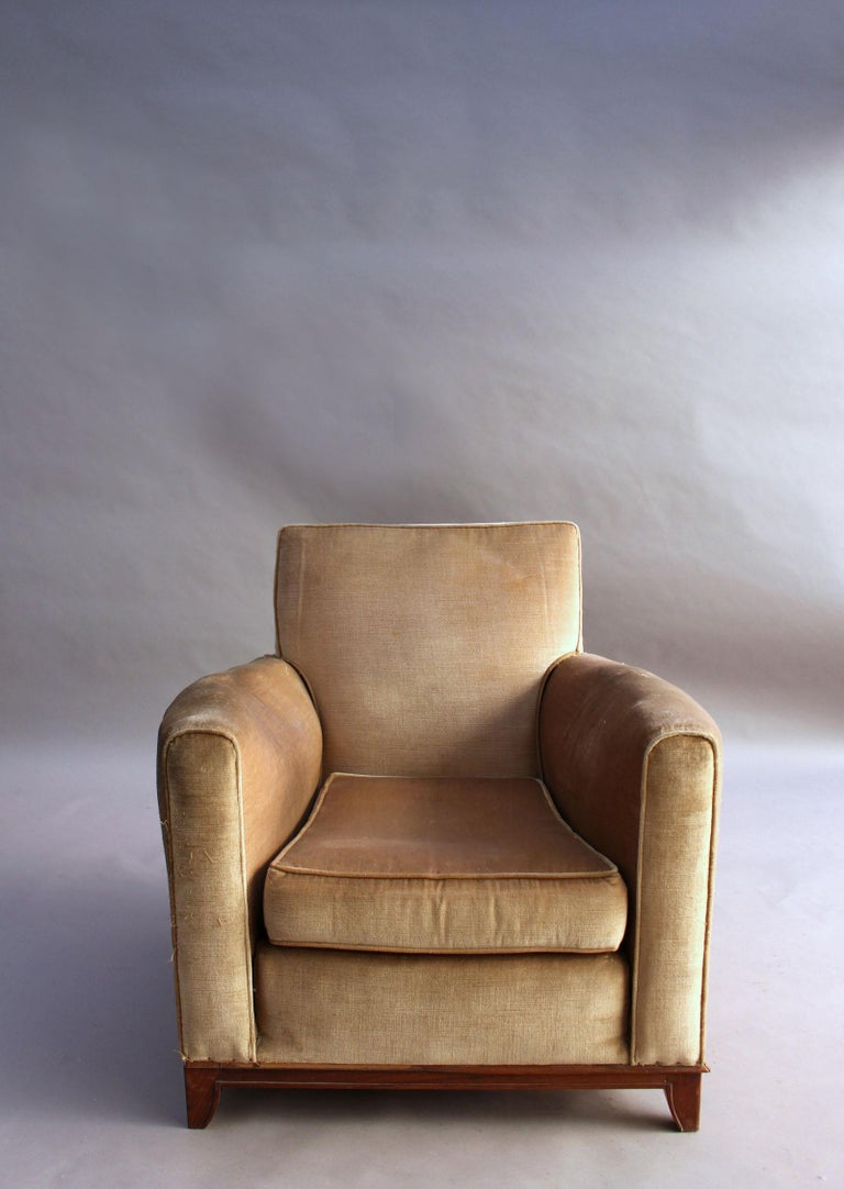 Pair of Fine French Art Deco Rosewood Armchairs by Maxime Old For Sale 11