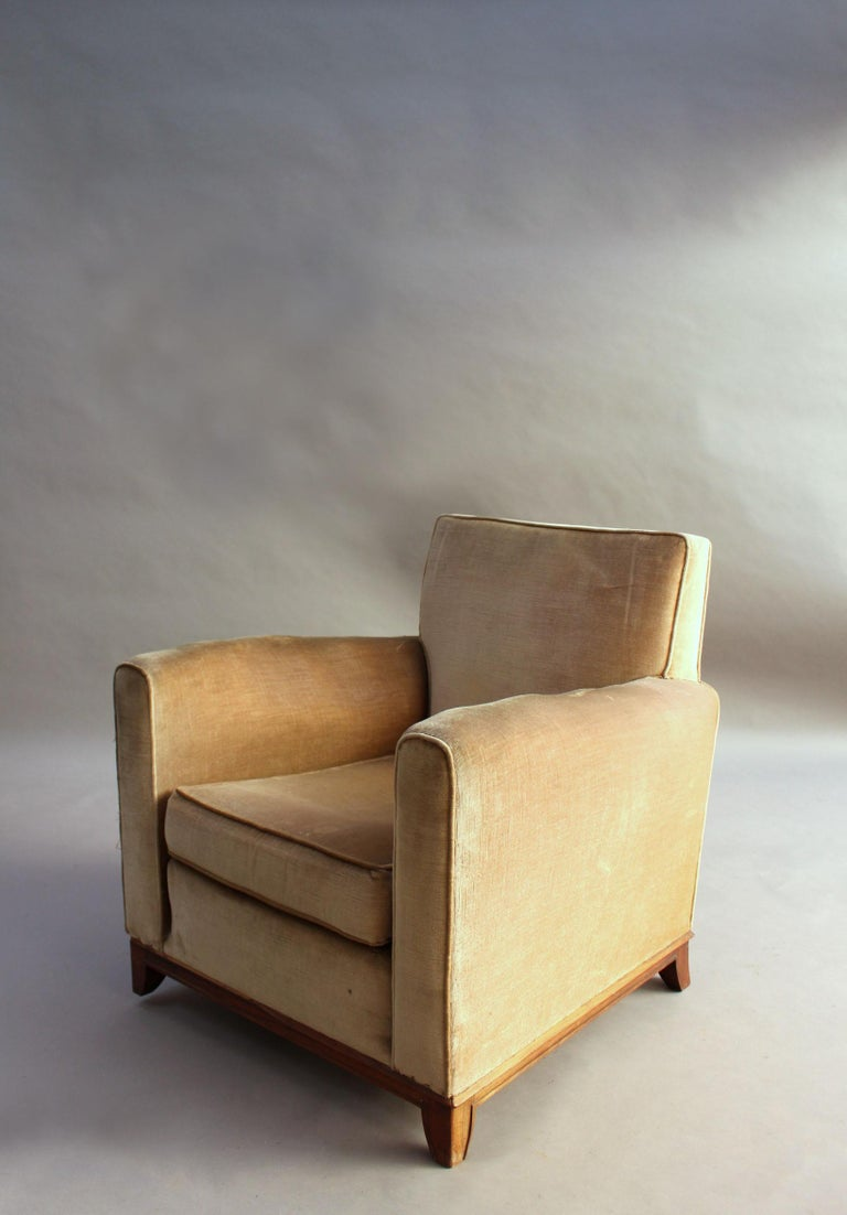 Pair of Fine French Art Deco Rosewood Armchairs by Maxime Old For Sale 12