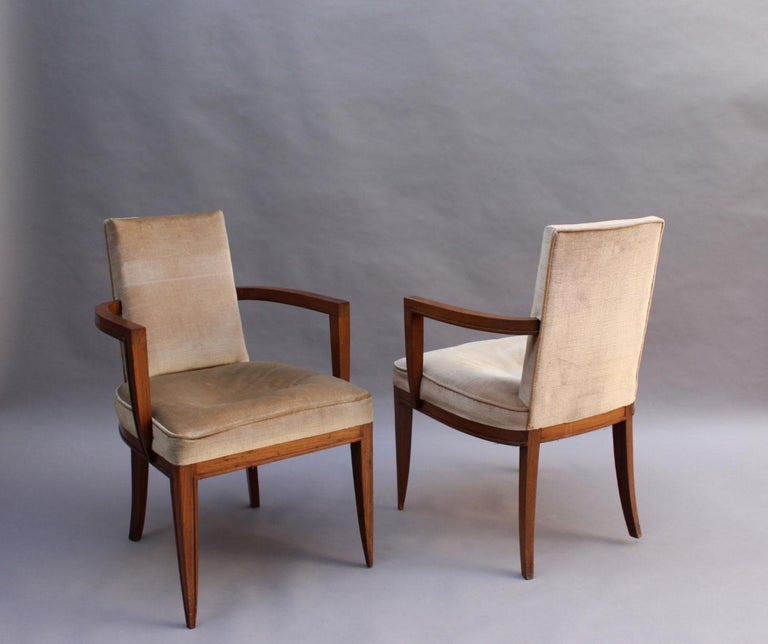 Pair of Fine French Art Deco Rosewood Armchairs by Maxime Old In Good Condition For Sale In Long Island City, NY
