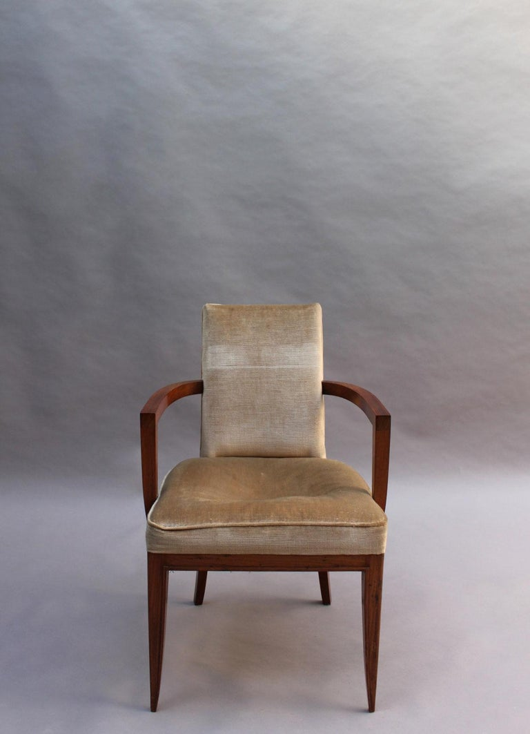 Mid-20th Century Pair of Fine French Art Deco Rosewood Armchairs by Maxime Old For Sale
