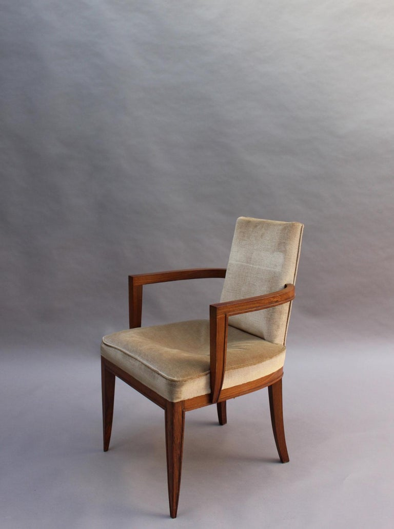 Velvet Pair of Fine French Art Deco Rosewood Armchairs by Maxime Old For Sale