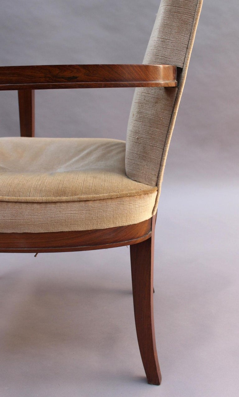 Pair of Fine French Art Deco Rosewood Armchairs by Maxime Old For Sale 4