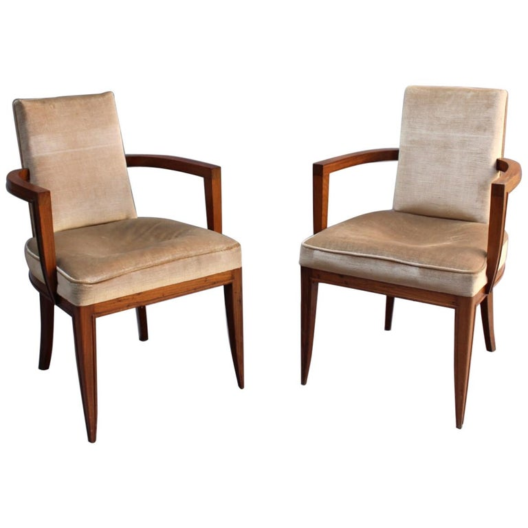 Pair of Fine French Art Deco Rosewood Armchairs by Maxime Old For Sale