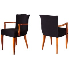 Pair of Fine French Art Deco Stained Beech Upholstered Armchair