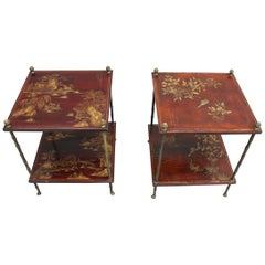 Pair of Fine French Bronze and Chinese Lacquer Side Tables Attributed to Baguès