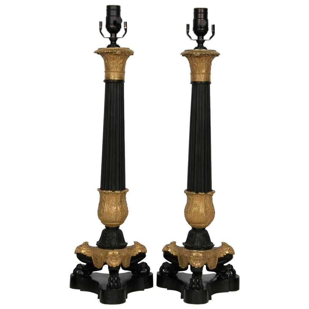 Pair of Fine French Charles X-Gilded Bronze Lamps