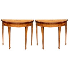 Pair of Fine Hepplewhite Style Demilune Console Tables
