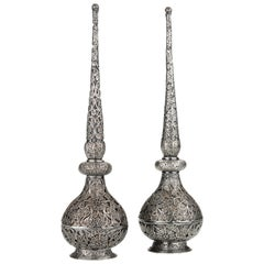 Pair of Fine Islamic Silver Filigree Rosewater Sprinklers, Early 18th Century