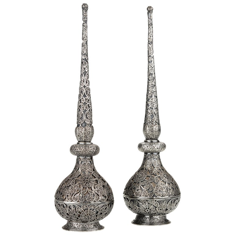Pair of Fine Islamic Silver Filigree Rosewater Sprinklers, Early 18th Century For Sale