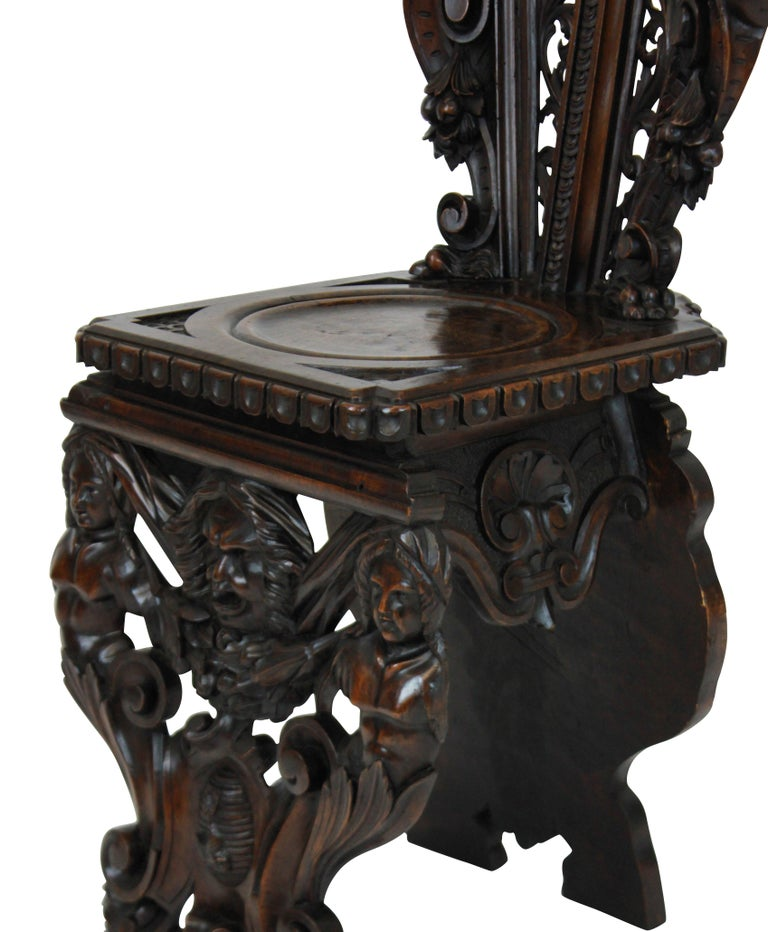 Mid-19th Century Pair of Fine Italian Renaissance Walnut Hall Chairs For Sale