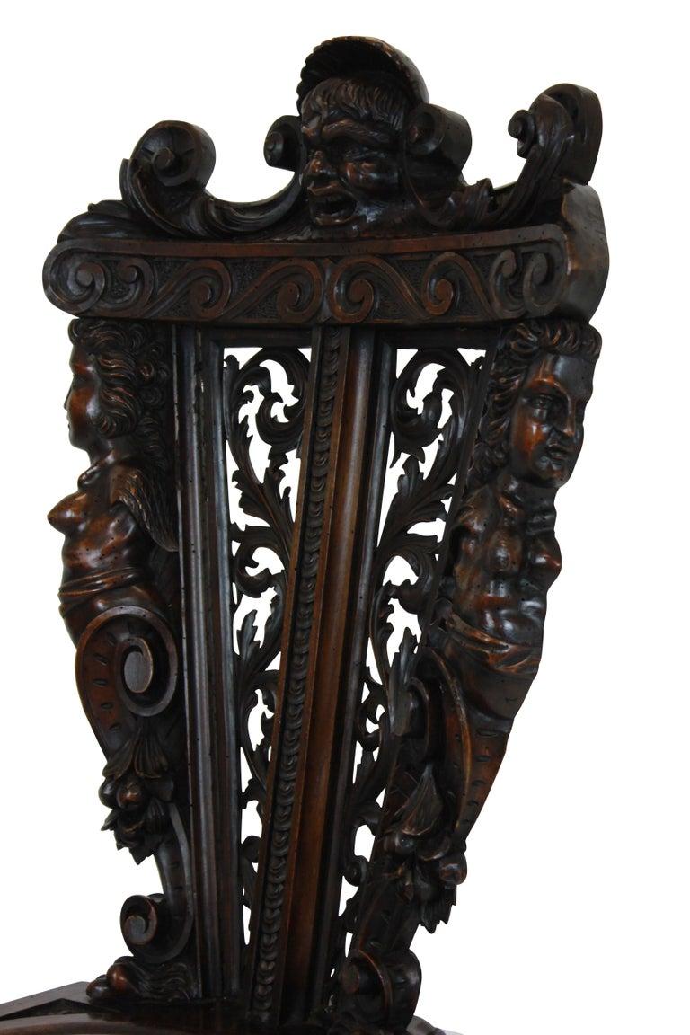 Pair of Fine Italian Renaissance Walnut Hall Chairs For Sale 1