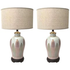 Pair of Fine Japanese Hand Painted Porcelain Lamps, 1970s