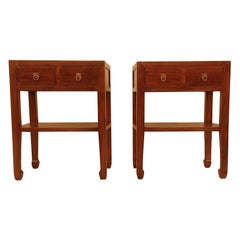 Pair of Fine Jumu End Tables with Drawers