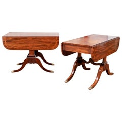 Pair of Fine Late Regency Mahogany and Tulipwood Drop-Leaf Tables