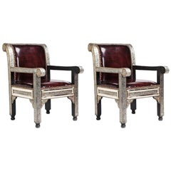 Fine Leather Hollywood Regency Style Armchairs / Bergere Chair, a Pair