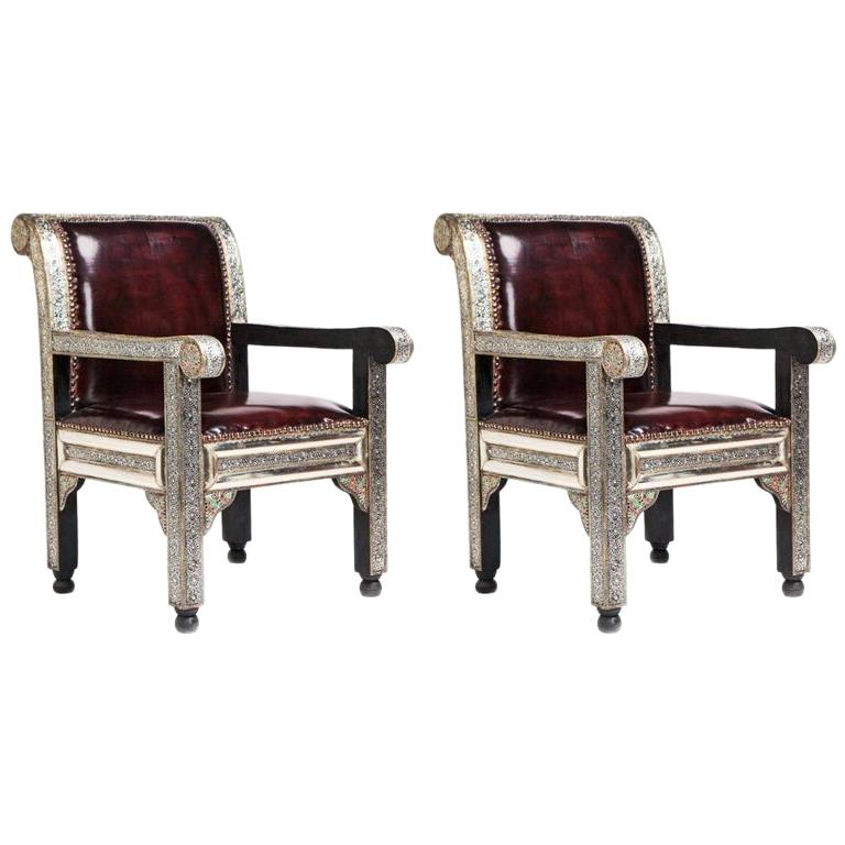 Pair of Fine Leather and Handcrafted White Brass Hollywood Regency Armchairs For Sale
