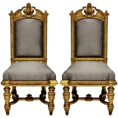 Pair of Fine Napoleon III Water Gilded Chairs