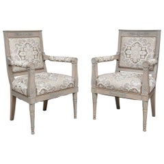 Pair of Fine Neoclassical Style Paint Decorated Arm Chairs